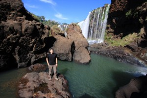 At the hidden swimming hole at Iguazu Falls