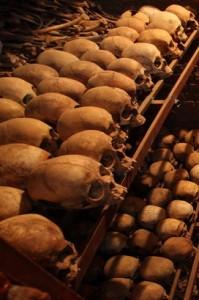 Human remains at the Nyamata Genocide Memorial