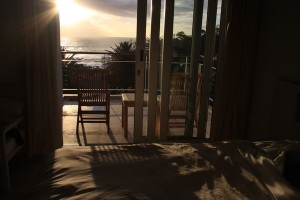 Watching the sunset from our apartment in Camps Bay