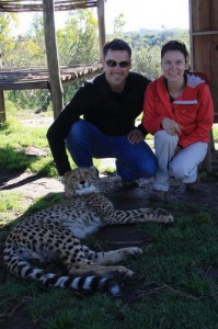 Leanne and Michael petting the cheetahs