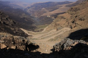 Driving on the Sani Pass. connecting Lesotho and South Africa