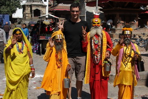 Michael with locals in Nepal