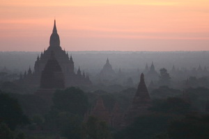 A misty sunrise in Bagan