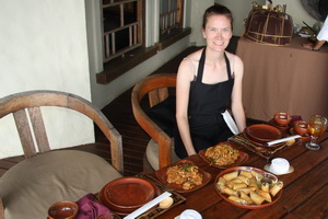 Leanne about to sample food from our cooking class